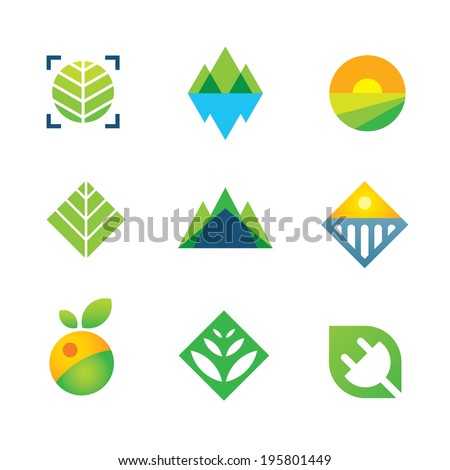 Wild green nature captured energy for future generation icon logo elements