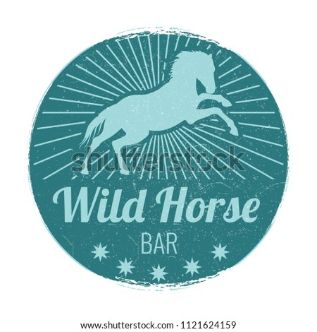 wild horse bar vintage vector...