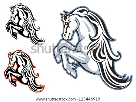 Wild horse stallion for mascot or tattoo design such as for Wild horse tattoo
