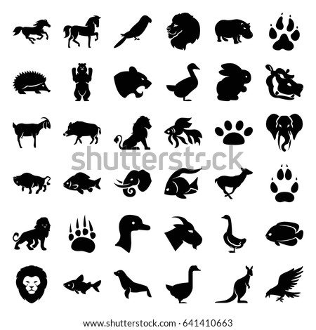 Wild icons set. set of 36 wild filled icons such as rabbit, goose, animal paw, lion, hog, fish, eagle, horse, hedgehog, bear, panther, goat, buffalo, antelope, parrot