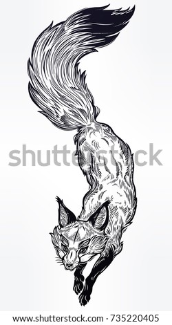 Wild jumping fox engraved line art. Isolated vintage vector illustration. Beautiful tattoo, travel, freedom, nature, adventure, wildlife symbol. The great outdoors t-shirt design. North animal.
