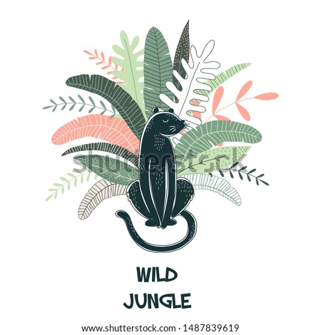 Wild jungle hand drawn vector illustration. Puma, panther isolated design element with lettering. Flora and fauna. Rainforest leaves. Exotic plants. Travel postcard, t shirt print design