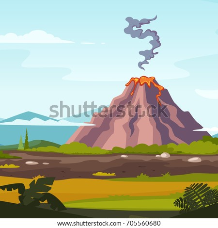 wild landscape with volcano and