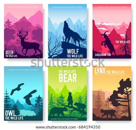 Wild life in nature vector brochure cards set. Animals template of flyear, magazines, poster, book cover, banners. Habitat invitation concept background. Layout illustration modern page