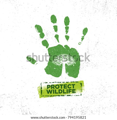 Wild Life Protection Community Organic Rough Sign. Nature Conservancy Sustainable Creative Vector Concept. Tree Inside Hand Palm Illustration.