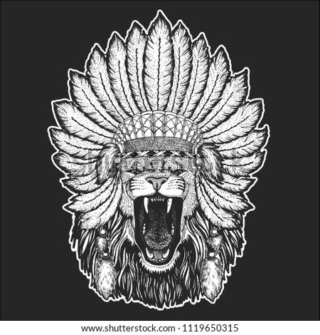 ca704af8edd4f Wild lion Traditional ethnic indian boho headdress Tribal shaman hat  Ceremonial element
