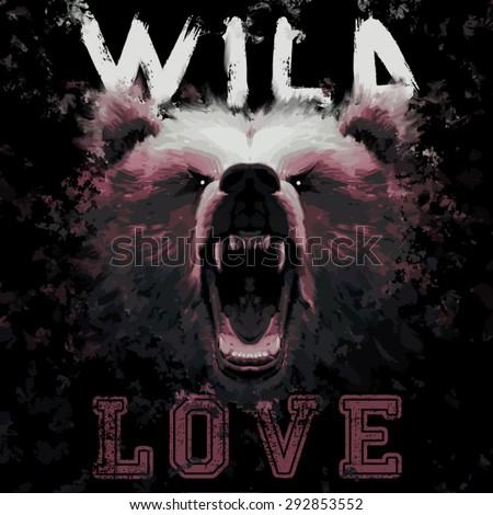 wild love bear painting fashion