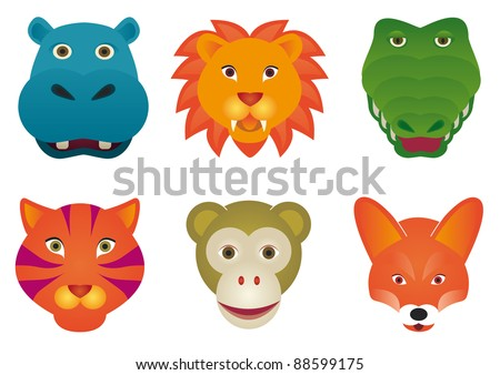 Wild mammal animals isolated over white background by BibiDesign