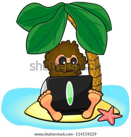 Wild man with laptop on island