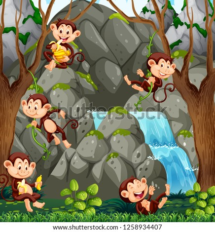 stock-vector-wild-monkey-in-nature-illustration