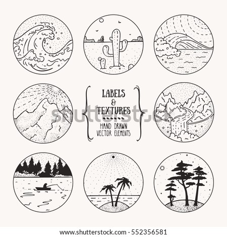 Wild nature landscape, outdoor recreation, hiking activity labels. Artistic collection of hand drawn design elements, inked textures and patterns. Poster, banner, flyer decor, apparel, t-shirt print.