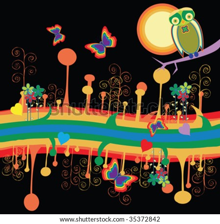 stock vector : Wild retro night, desktop background
