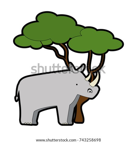 wild rhinoceros with tree