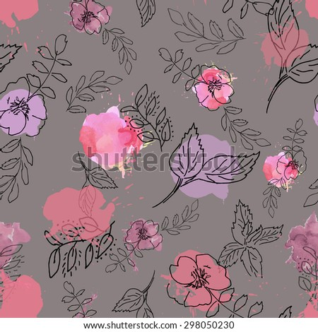 wild roses and plants pattern