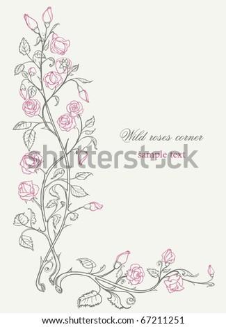 Wild roses decorative corner