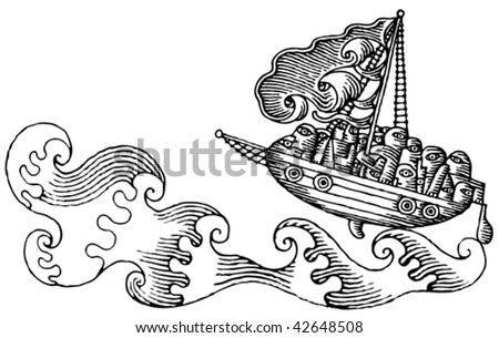 wild sea ship drama drawing black and white