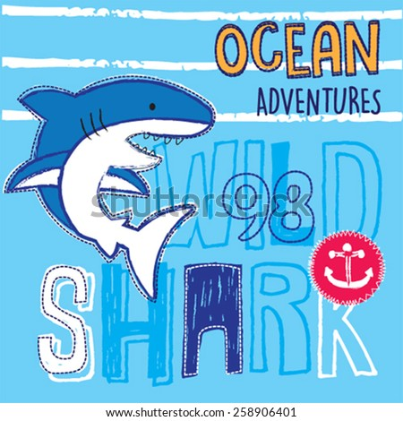 wild shark cartoon  t shirt