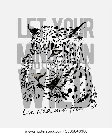 wild slogan with leopard head graphic illustration