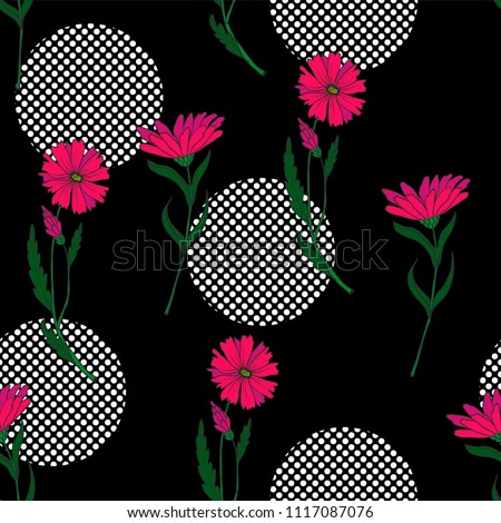 wild small flowers in seamless