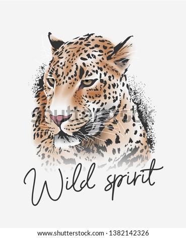 wild spirit slogan with leopard