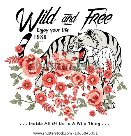 wild tiger and wild flowers vector illustration graphic t shirt and fabric print