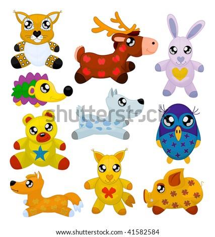 wild toy animals isolated on
