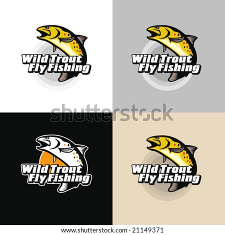 Wild trout fly-fishing. Vector illustration, emblem.