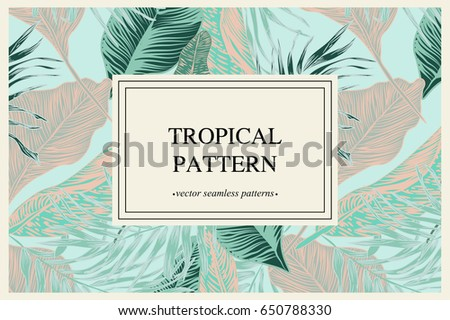 Wild vector banner with tropical plants in a trend. stylish, vector, plant, exotic illustration vector banner with tropical plants in a trend. stylish, vector, plant, exotic  trendy pattern.