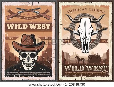 Wild West American Western vintage grunge poster. Vector skeleton skull in cowboy hat, bandit shotgun rifle and wild horse lasso, Western wagon wheel cart in prairie and bull skull