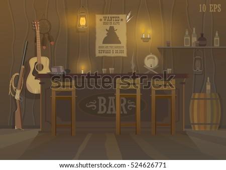 wild west bar in the evening