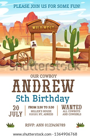 Wild west Birthday party invitation design template. Western poster concept for invitations, greeting cards etc. Cartoon wild west illustration