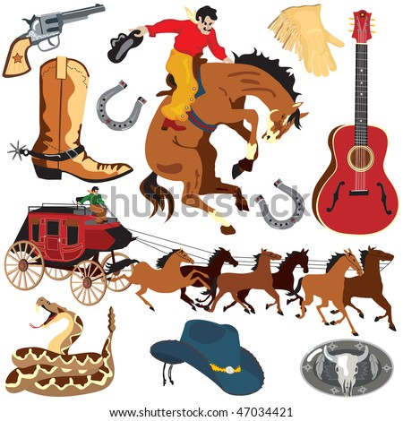 Wild West Clipart icons and elements isolated on white