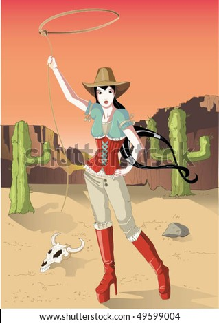 wild west colorful girl with lasso