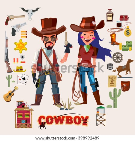 Wild west cowboy and cow girl. character design with elements - vector illustration