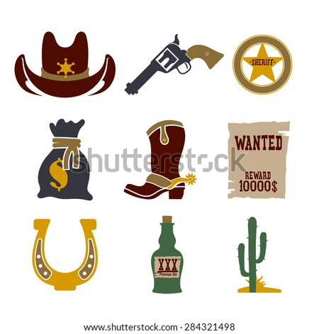 Wild west cowboy flat icons set with gun money bag hat isolated