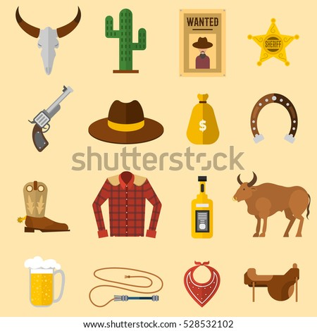Wild west cowboy icons vector illustration