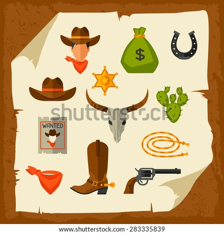 wild west cowboy objects and