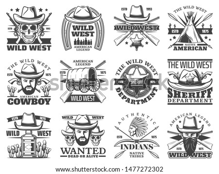 Wild West cowboy, skull, sheriff and western bandit vector icons. Bearded men with hats, guns and Texas ranger star badge, indian chief, old wagon and revolvers, horseshoe, arrows and bows