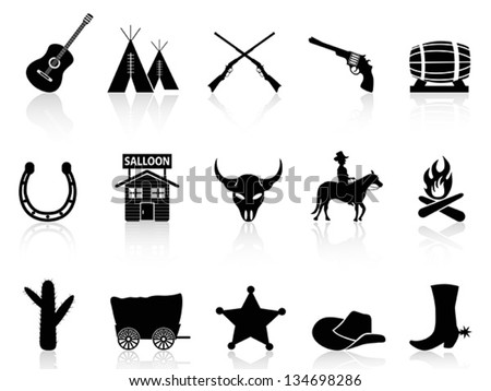 Wild West & Cowboys icons set