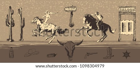 Wild west cowboys ride horses and shoot guns. Vector bandit chase hand drawn illustration painted by ink.