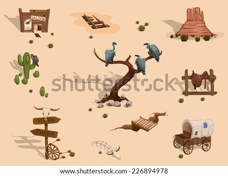Wild west different objects sprites. Vector game design for app
