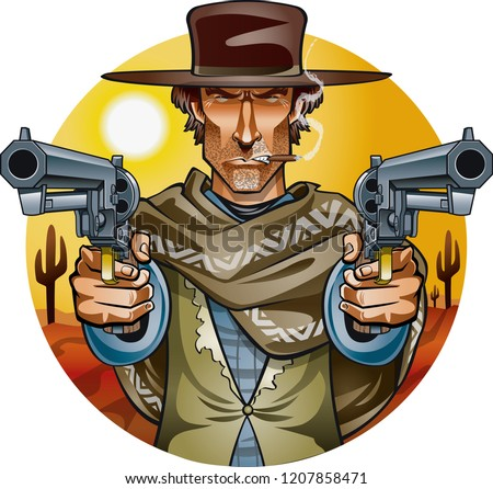 wild west gunslinger holding two guns