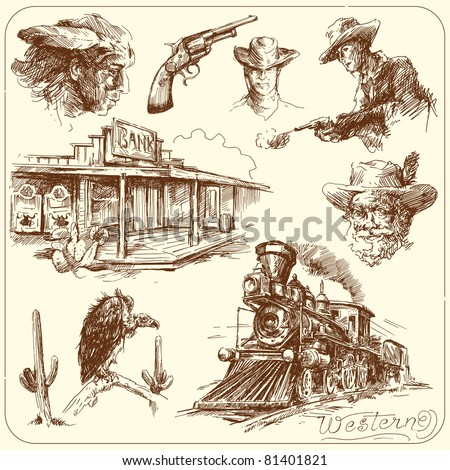 wild west   hand drawn...