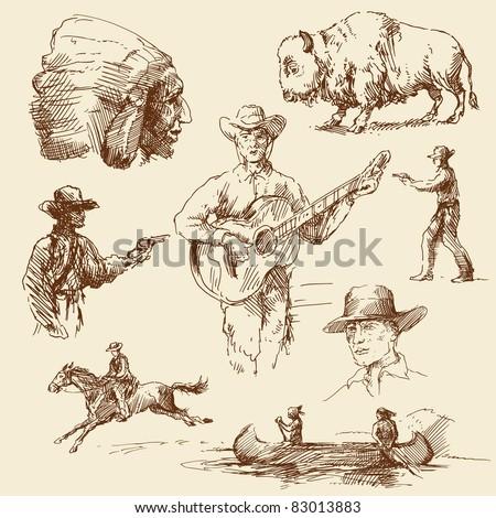 wild west   hand drawn...