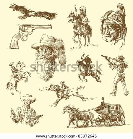 wild west-hand drawn set
