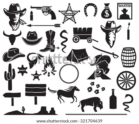 wild west icons set  cowboy