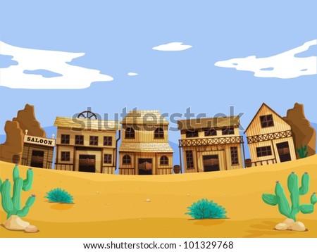 Wild west illustration scene with detail