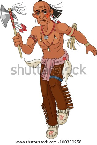 Wild west.  Indian warrior with  an ax.