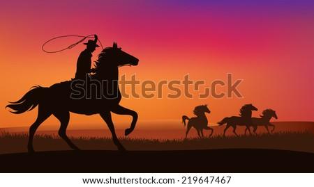 wild west landscape   cowboy