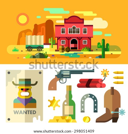 wild west landscape  icons